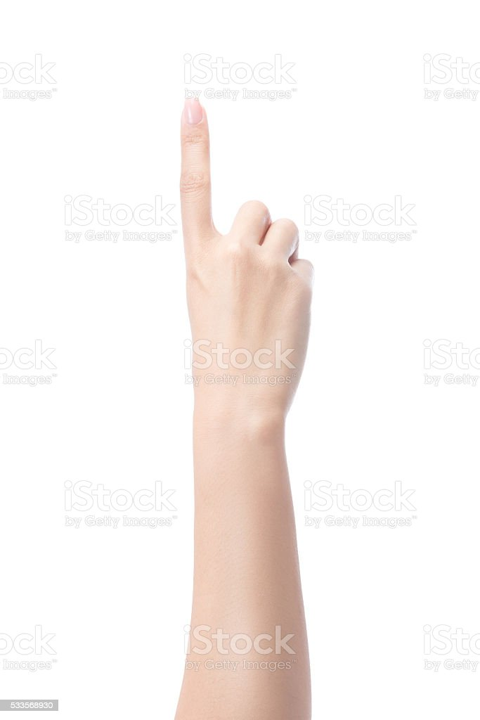 Counting woman hands one, number 1 stock photo