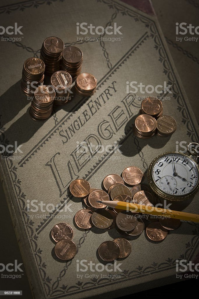 Counting Your Pennies stock photo