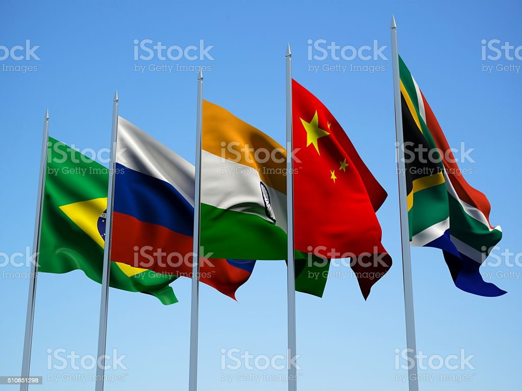 BRICS countries flags. 3d illustration stock photo