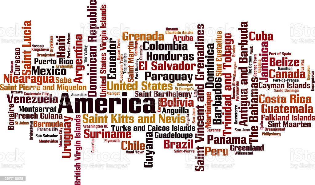 Countries in America word cloud stock photo