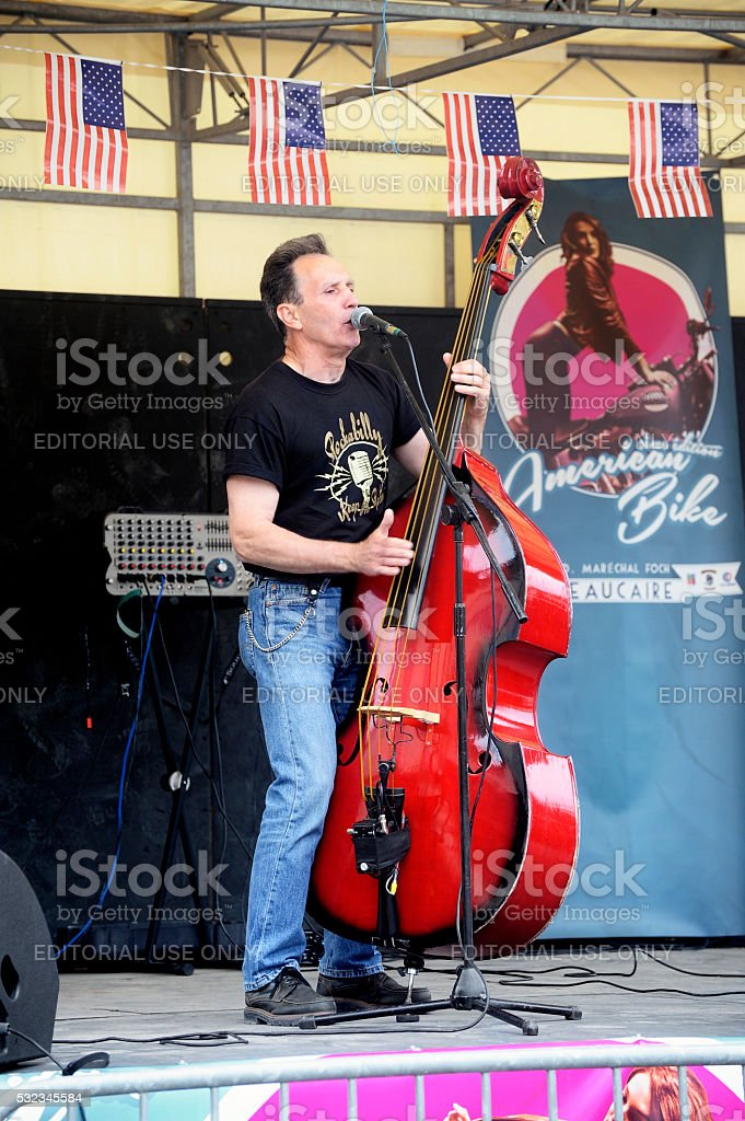 Country band on stage stock photo