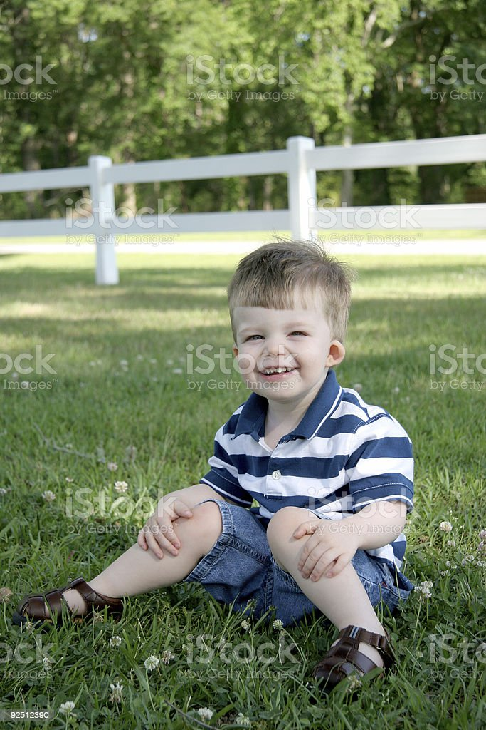 Country boy series: Happy in the country. stock photo