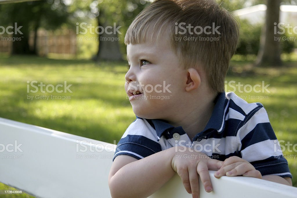 Country boy series: Watching. stock photo