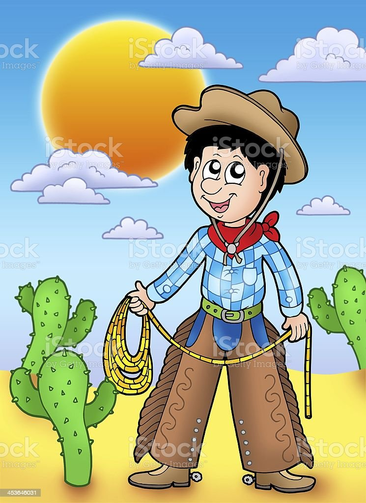 Country boy with sunset stock photo