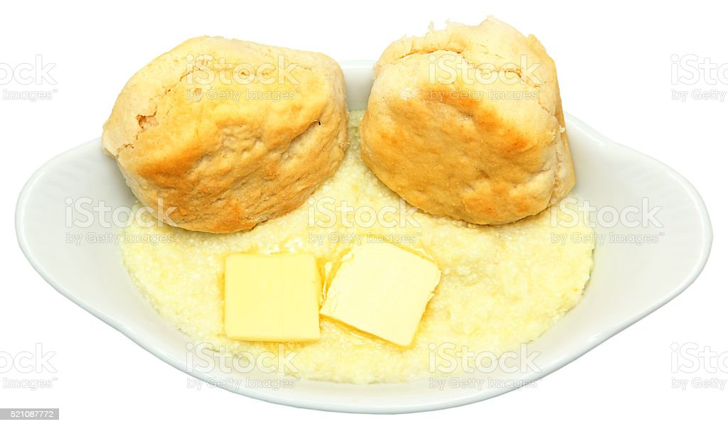 Country Breakfast Biscuits and Grits stock photo
