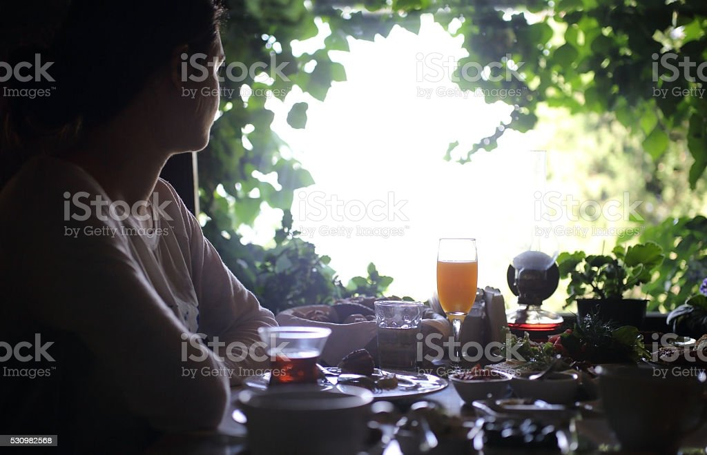 Country breakfast in country house stock photo