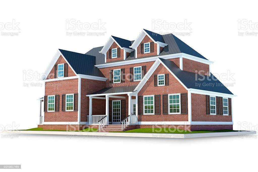 Country brick house isolated on white background stock photo
