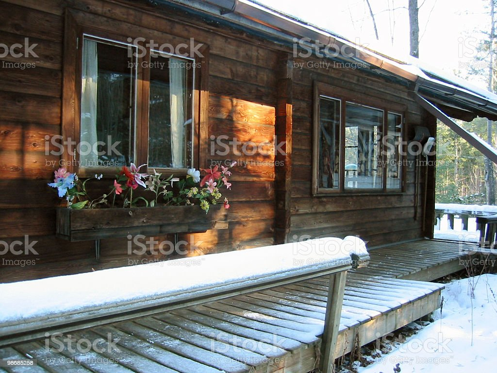 country cabin in the first snow royalty-free stock photo
