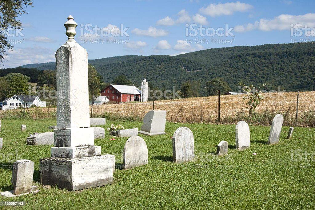 Country Cemetery in Rural Farm Land stock photo