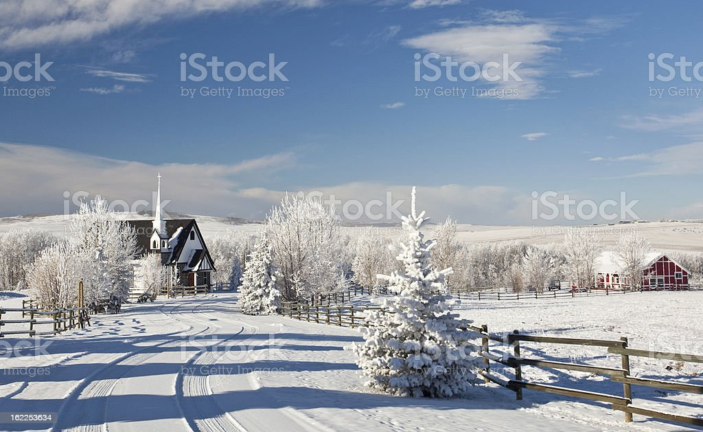 Country Church in Winter stock photo