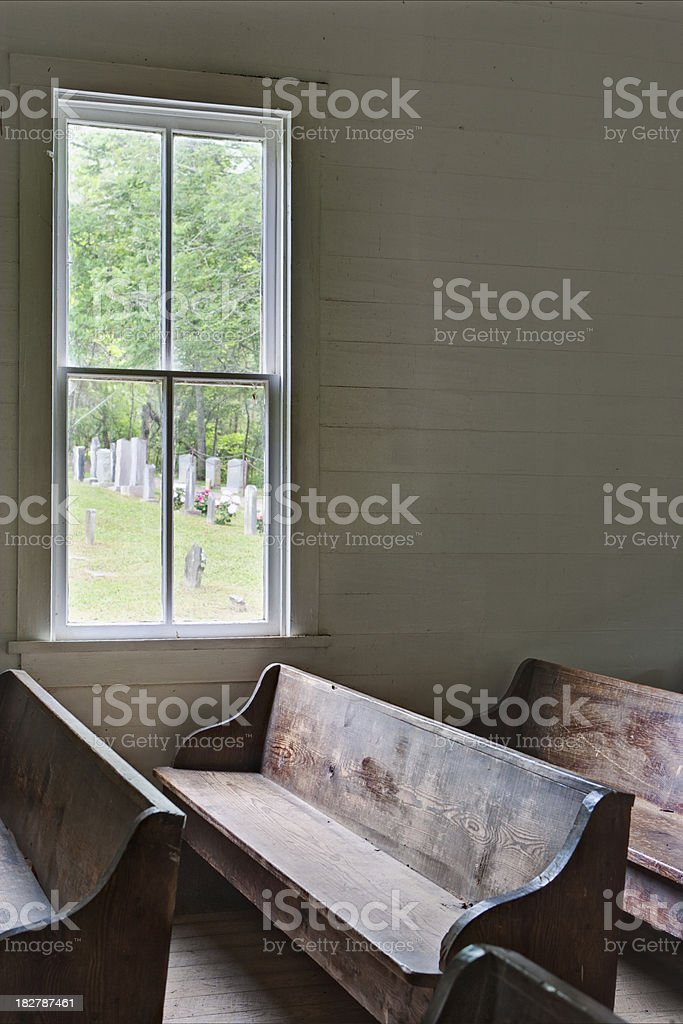 Country church interior stock photo