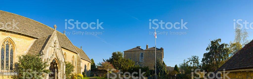 Country churchyard panorama stock photo