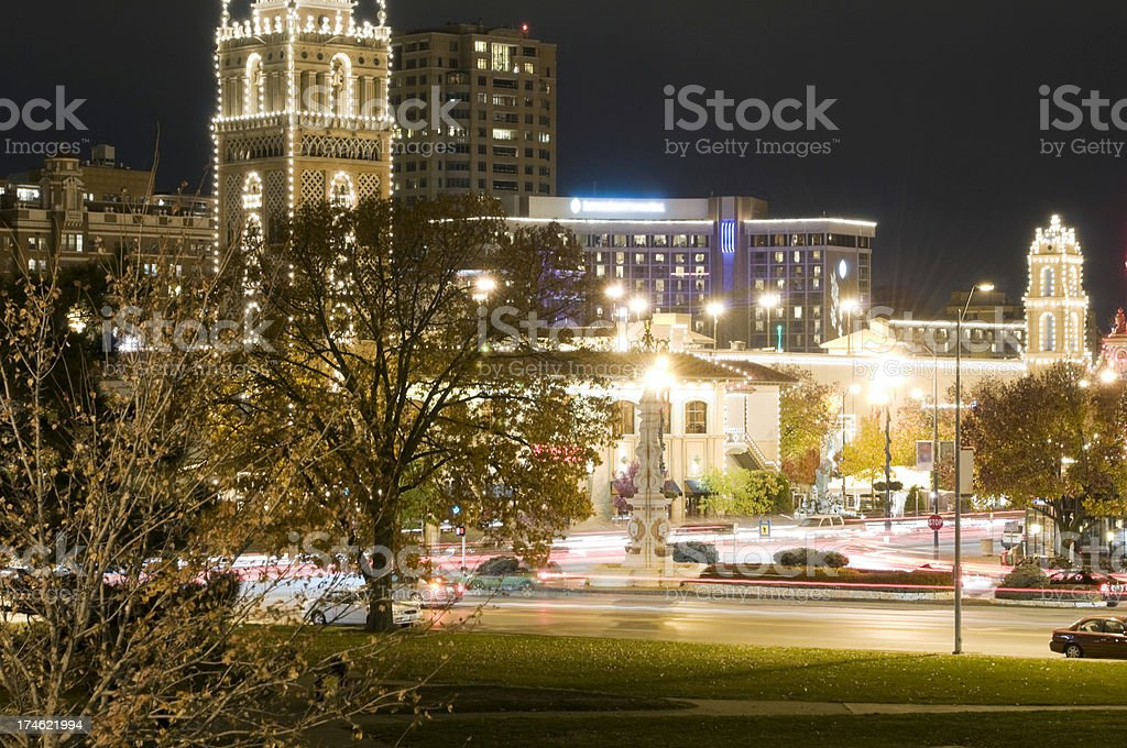 Country Club Plaza at Night stock photo