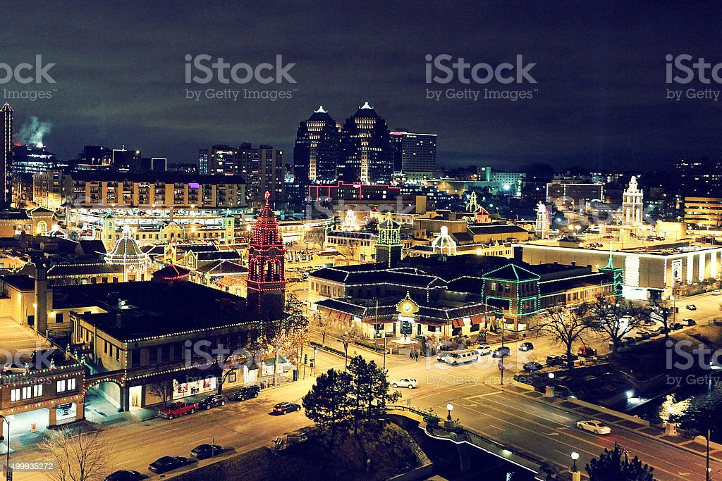 Country Club Plaza Kansas City Christmas Lights stock photo