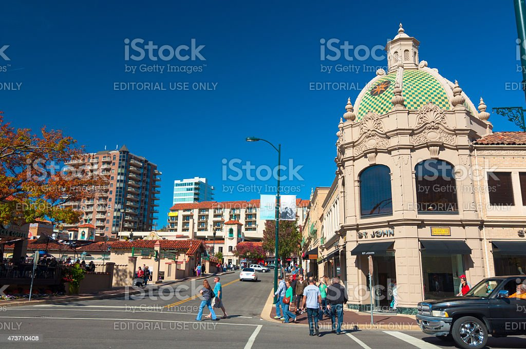 Country Club Plaza shopping district in Kansas City stock photo