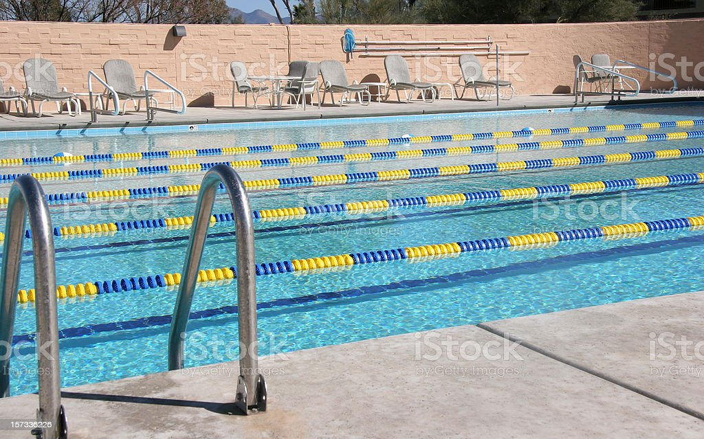 Country Club Pool With Swim Lanes royalty-free stock photo
