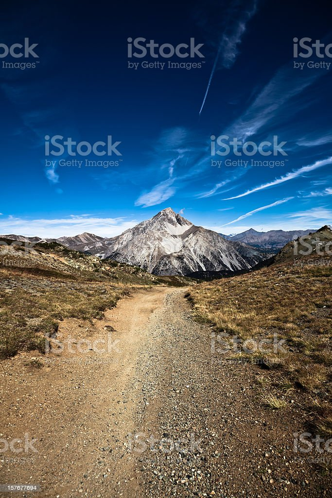 Country Dirt Road in the Alps, Mount Chaberton royalty-free stock photo