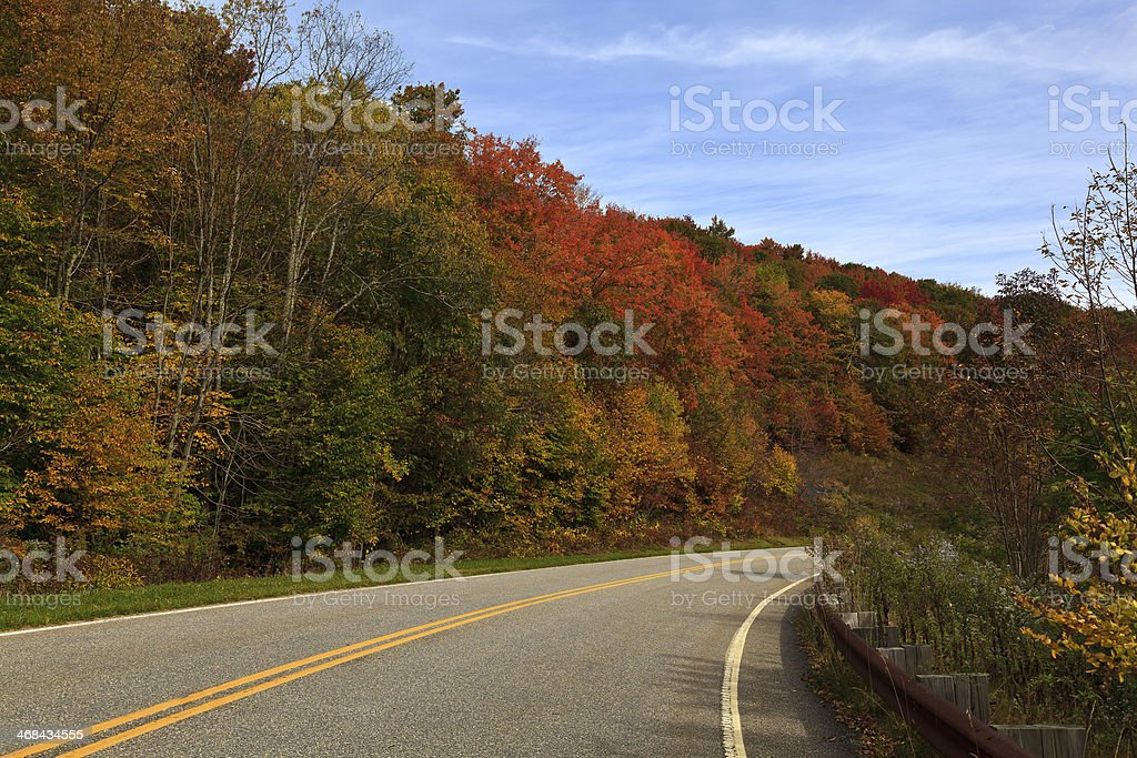 Country Drive in the Fall stock photo