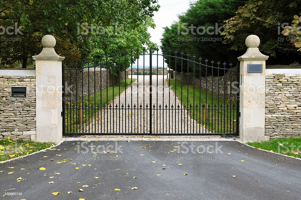 Country Estate Gates and Driveway stock photo