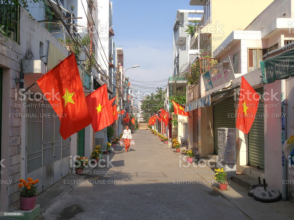 country flag in the Tet holidays stock photo