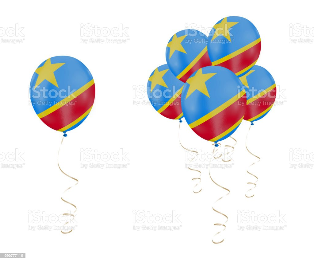 Country flag of Democratic Republic of the Congo on balloons with a white solid background stock photo