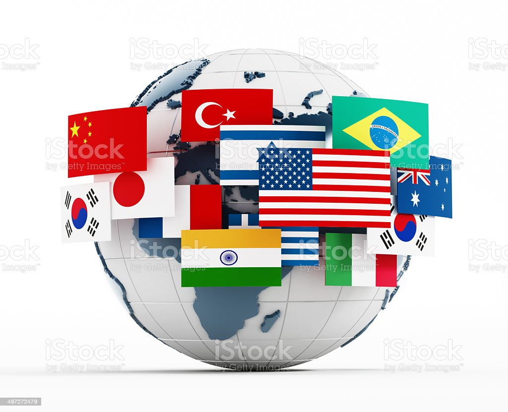 Country flags around the globe stock photo