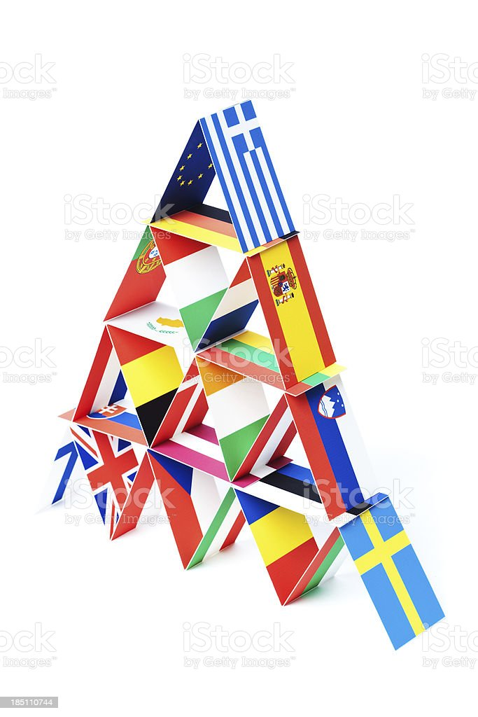 Country Flags Economic House of Cards for European Debt Crisis stock photo
