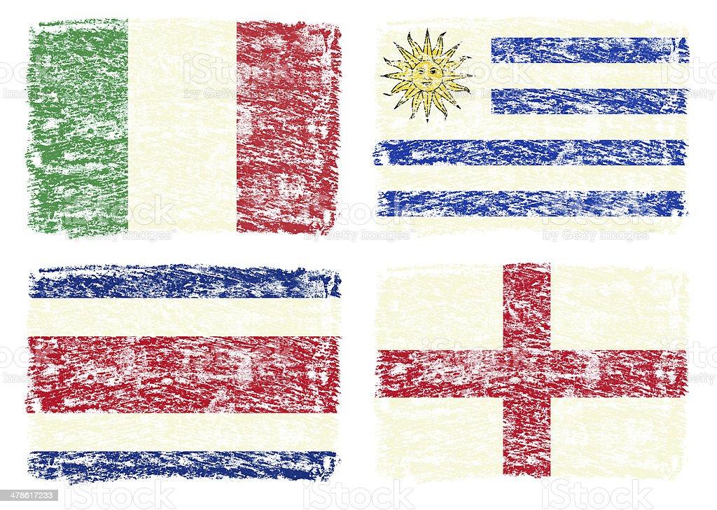 country flags, England,Italy,Costa Rica,Uruguay stock photo