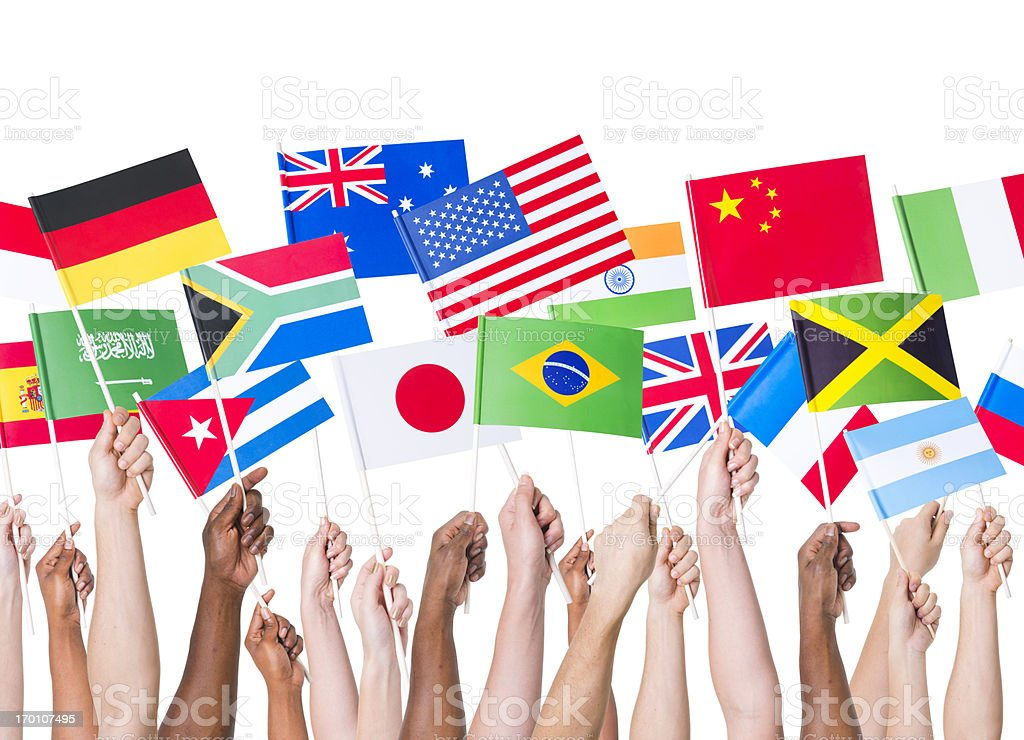 Country flags gathering stock photo