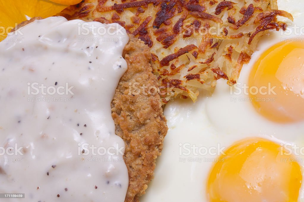 Country Fried Steak and Eggs royalty-free stock photo