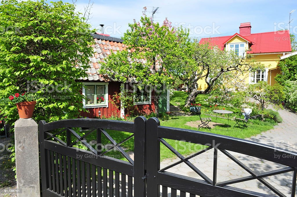 Swedish country garden at spring time. stock photo
