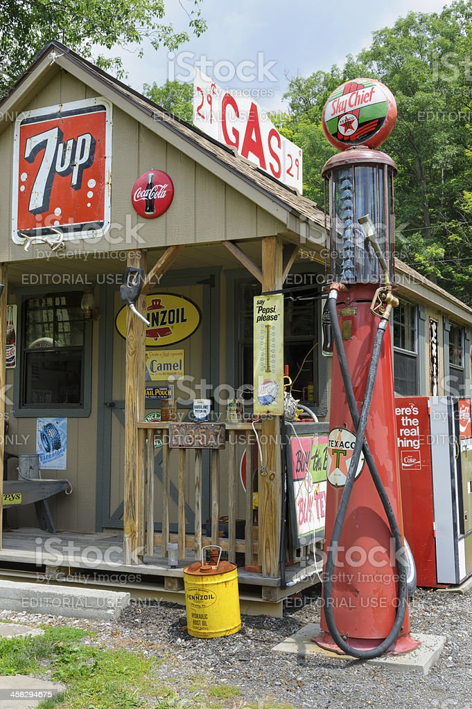 Country Gas Station with Gravity Pump, American Memorabilia stock photo