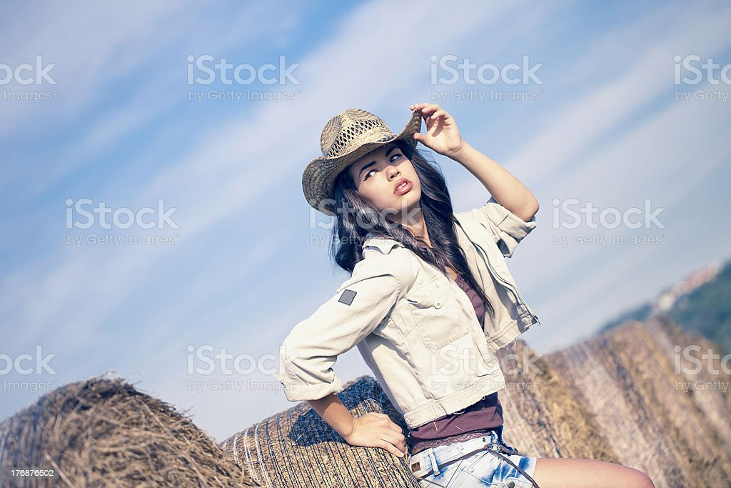 Country Girl And Hay Bales royalty-free stock photo
