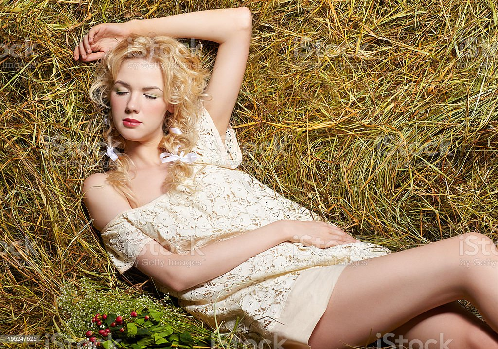 country girl on hay royalty-free stock photo