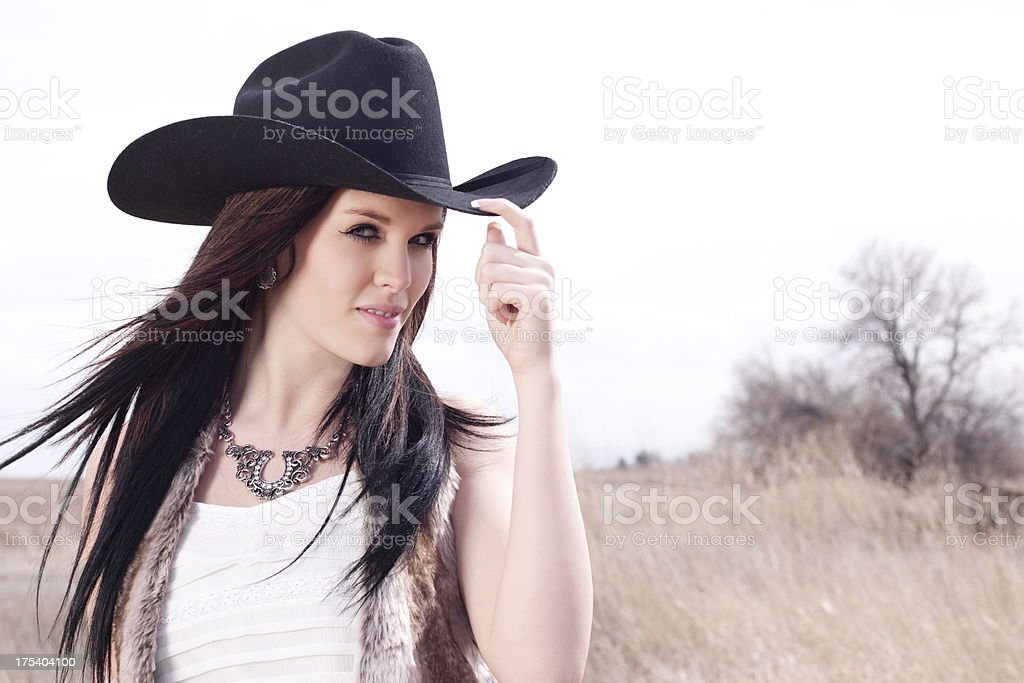 Country Girl Wearing Cowboy Hat royalty-free stock photo