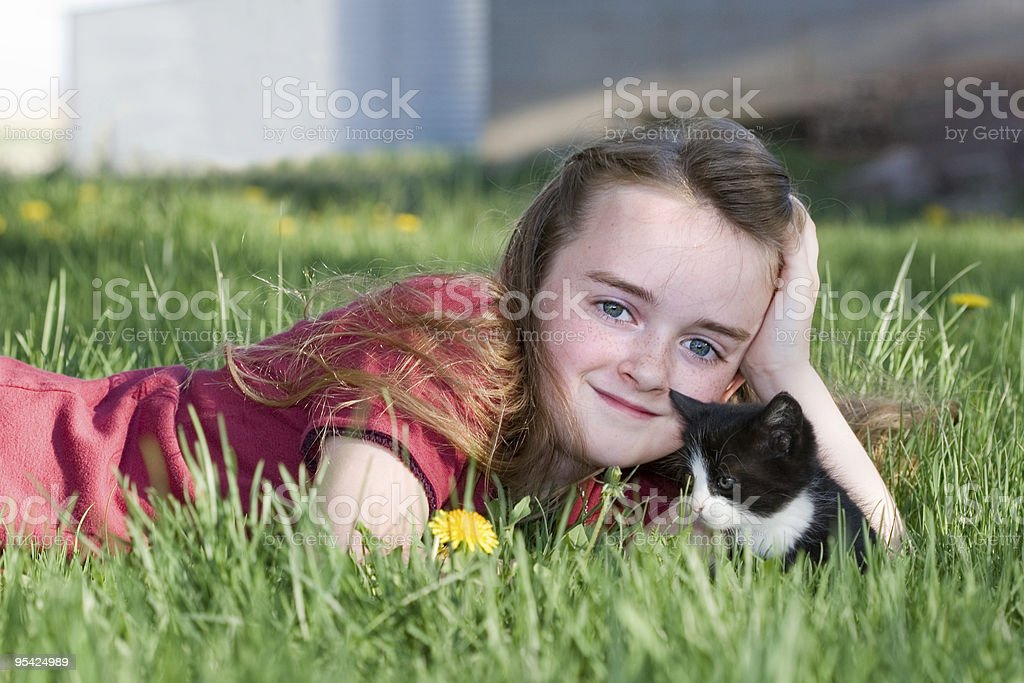 Country Girl with Kitten royalty-free stock photo