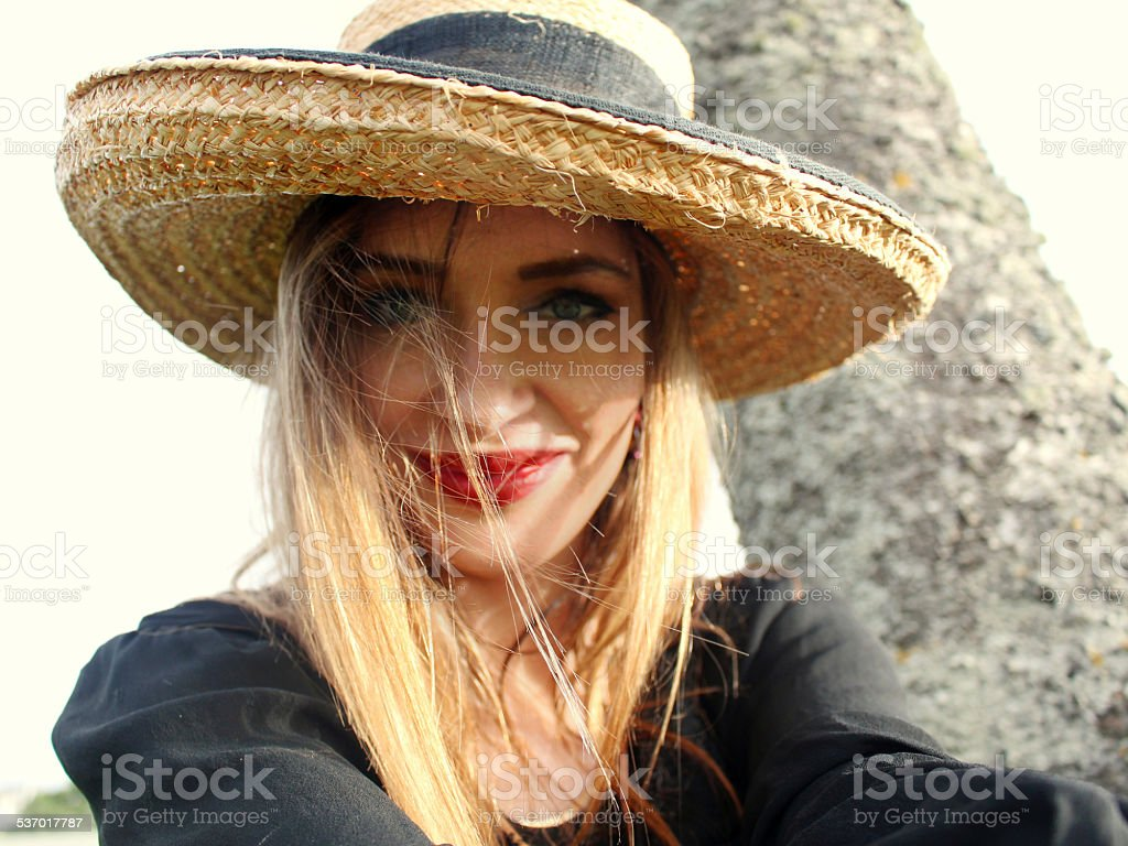 Country hat selfie stock photo