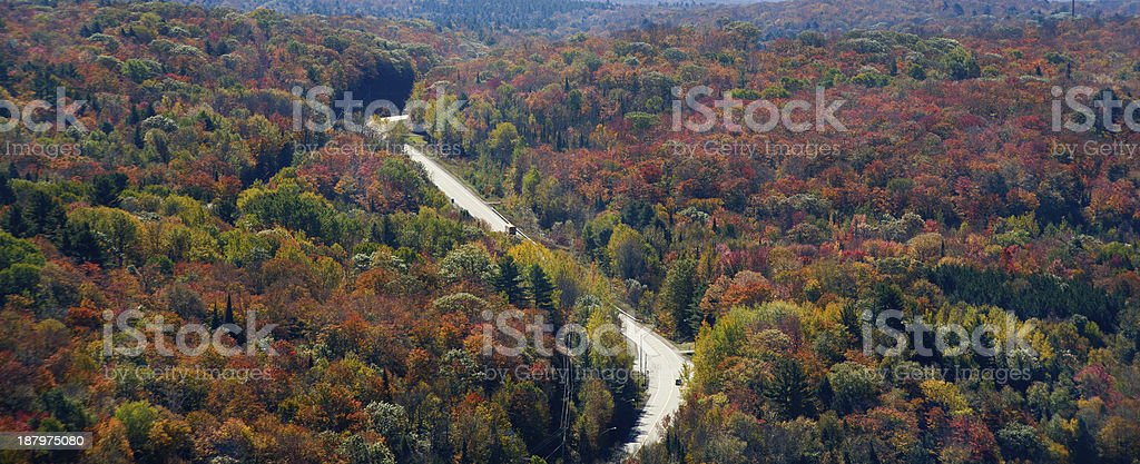 Country Highway During Autumn royalty-free stock photo