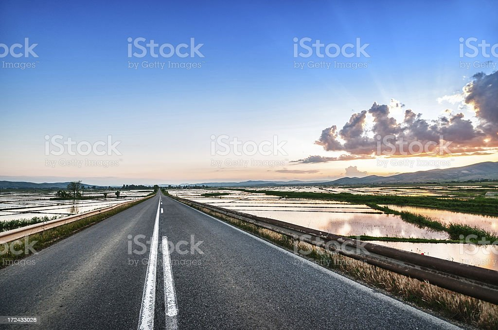 Country Highway Surrounded with Watered Rice Fields royalty-free stock photo