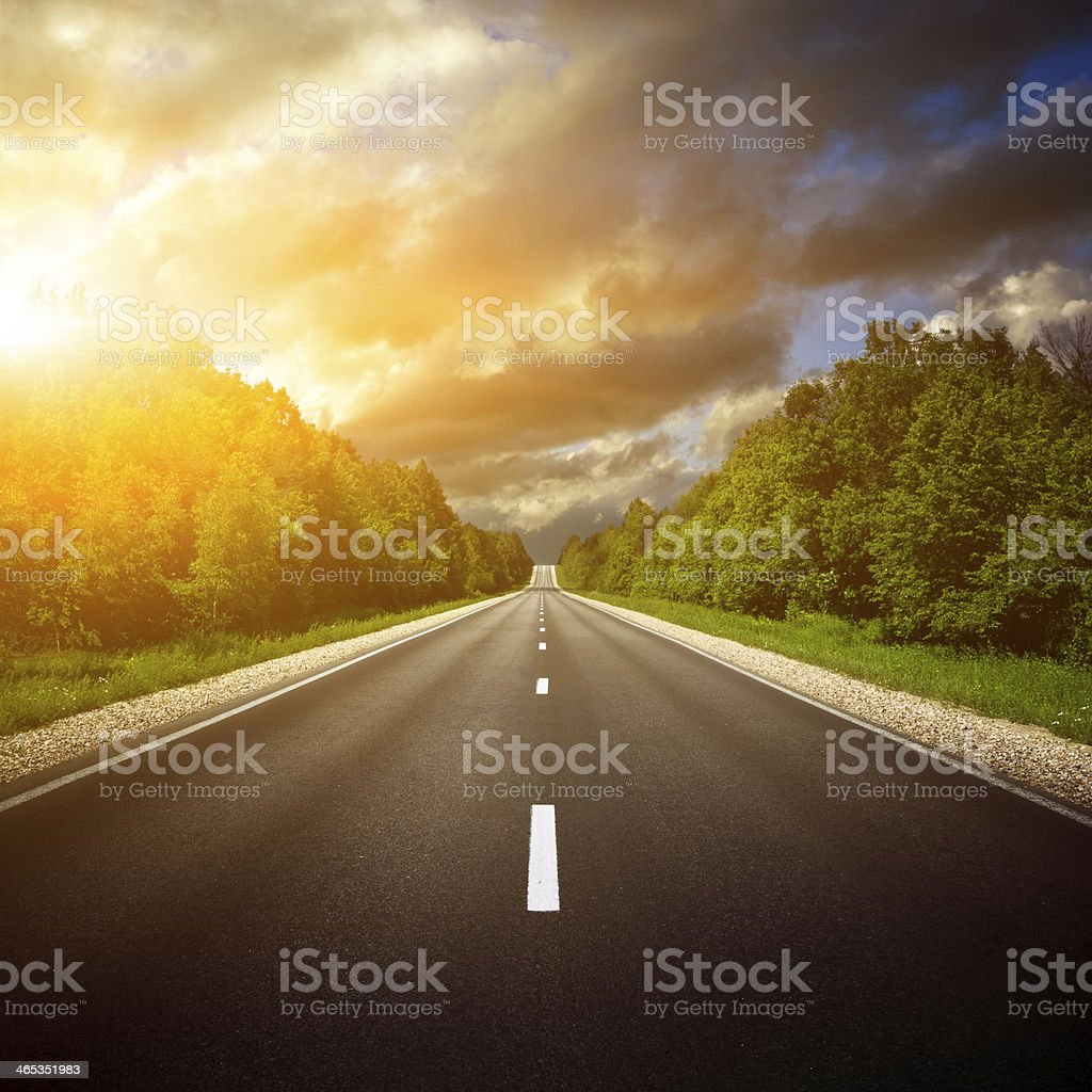 Country Highway. The way forward. stock photo