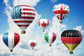 G7 country hot air balloons in the sky