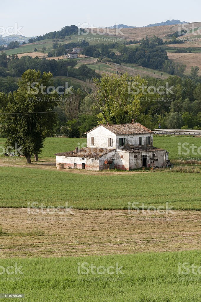 Country house in Emilia-Romagna (Italy) near Cesena at summer stock photo