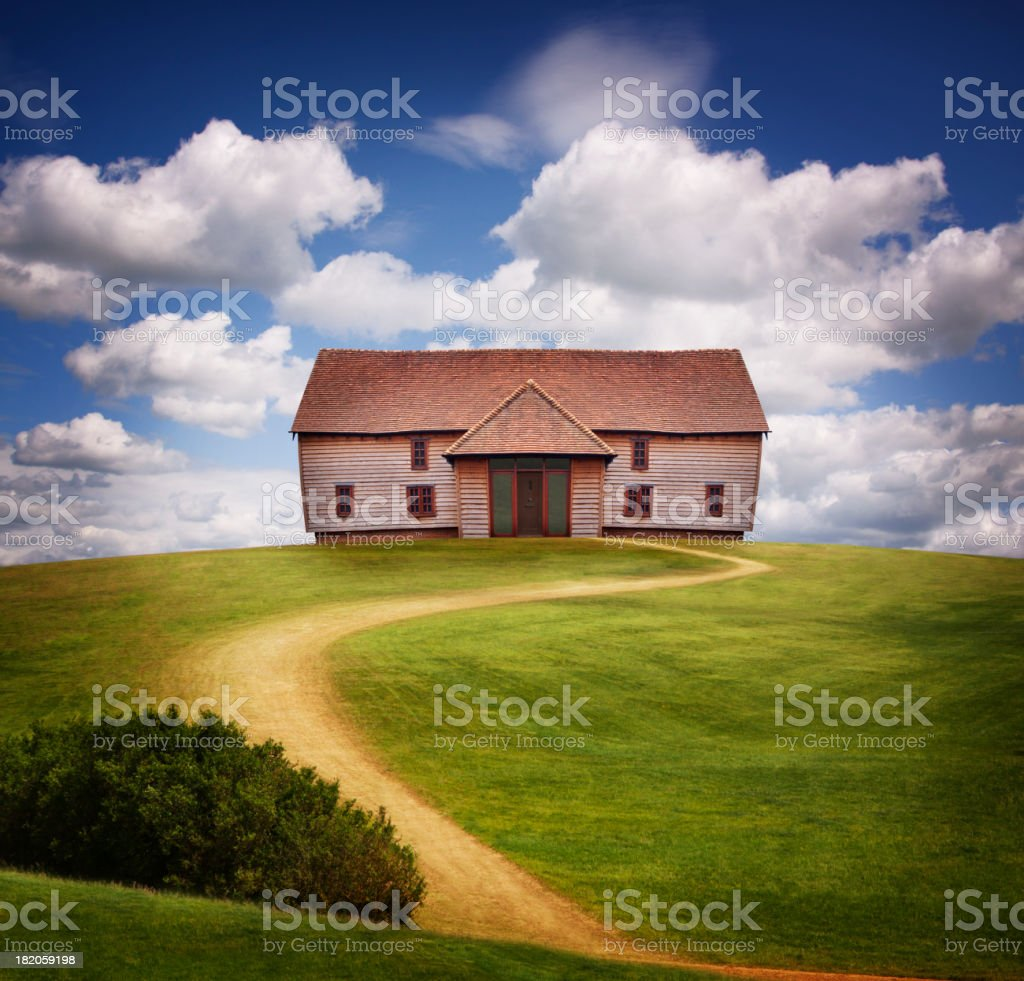 Country House on Green Hill stock photo