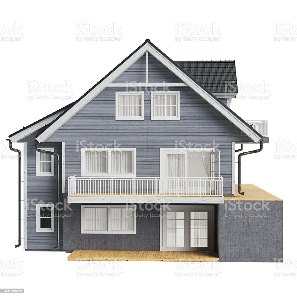 Country house wood siding, front view stock photo