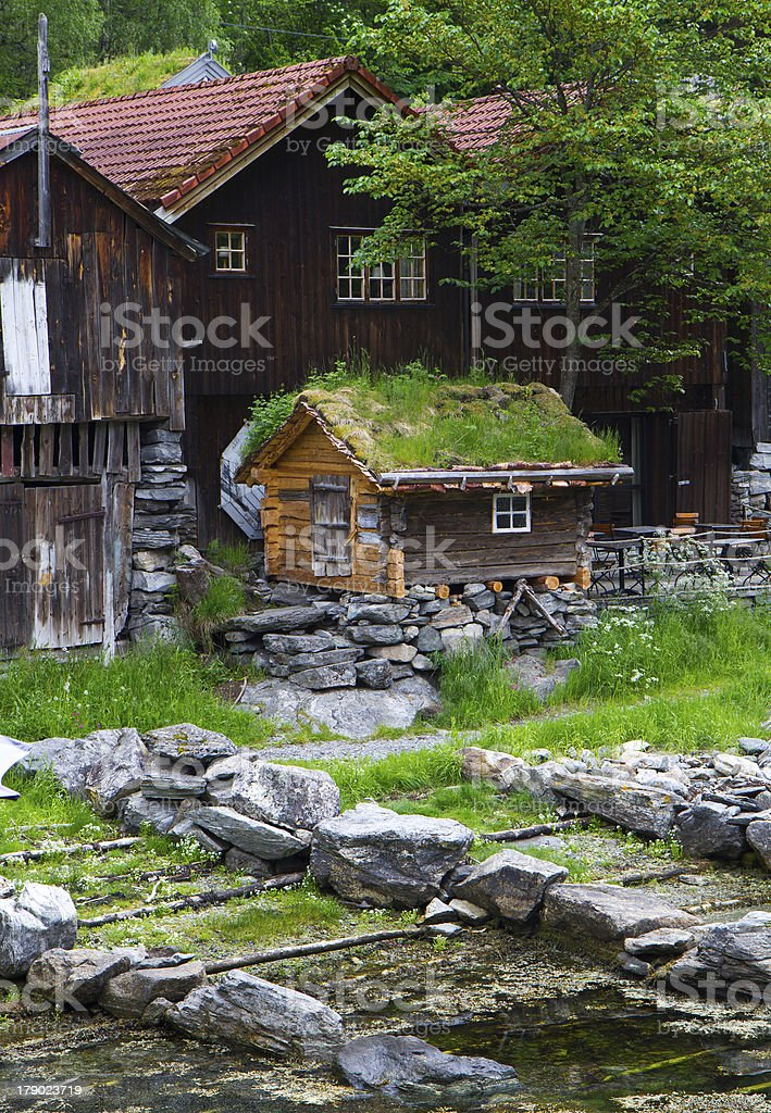 Country houses in village Olden Norway. royalty-free stock photo