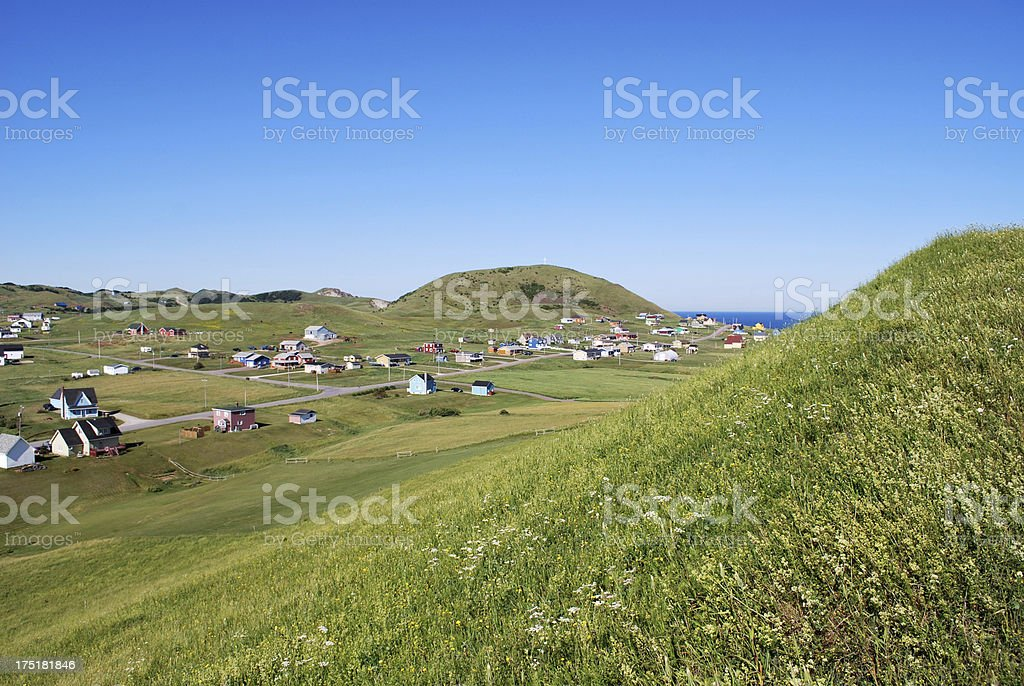 Country Houses on Green Hills stock photo