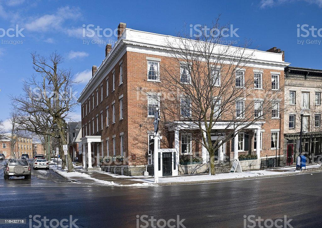 Country Inn Panorama from the mid-19th Century. royalty-free stock photo
