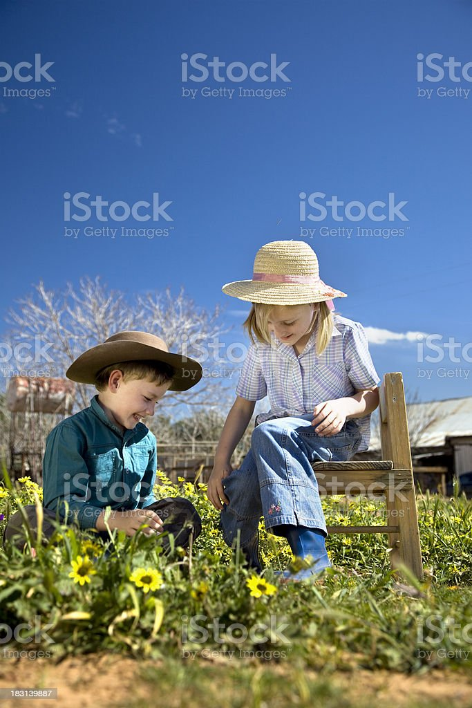 Country Kids Playing royalty-free stock photo
