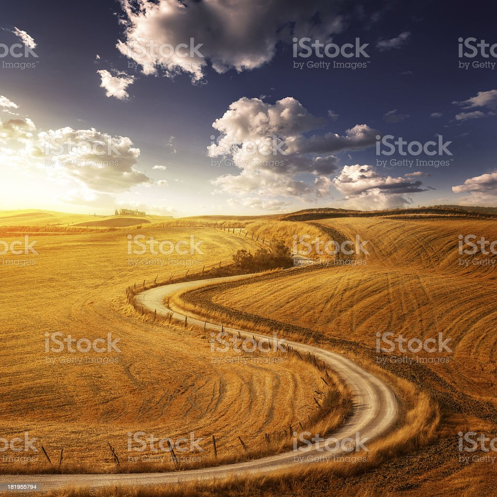 Country Landscape - fields in the sunset sky royalty-free stock photo
