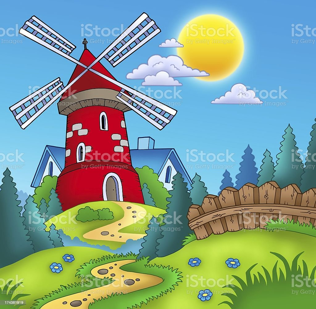 Country landscape with red mill royalty-free stock vector art